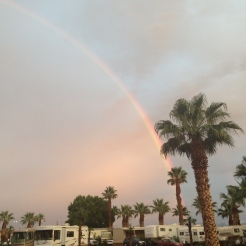 RAINBOW OVER HILLSIDE PALMS